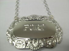 SILVER PLATE WINE DECANTER LABEL - SHELL &SCROLL. MANY ENGRAVINGS AVAILABLE