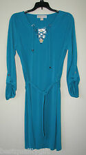 MICHAEL KORS TILE BLUE, TURQUOISE TAB SLEEVE, CRISS CROSS TIE NECK DRESS-NEW+TAG