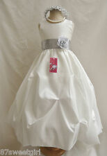 PO1 PICK UP IVORY / SILVER  PARTY PICK UP  PAGEANT FLOWER GIRL DRESS ALL SIZE