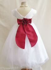 NEW VB WHITE/APPLE RED DAVIDS WEDDING PAGEANT RECITAL PARTY FLOWER GIRL DRESS