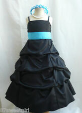 SPU BLACK TURQUOISE BLUE WEDDING PARTY PRINCESS GOWN PAGEANT FLOWER GIRL DRESS