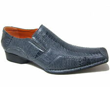 Mens Dress Shoes Slip on Loafer Leather Lined Faux Snakeskin Tapered Fashion Toe