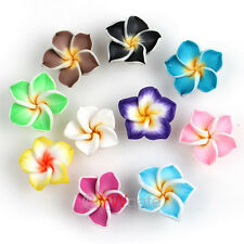 Wholesale 200pcs Fimo Polymer Clay Plumeria Flower Beads 15mm DIY Crafts