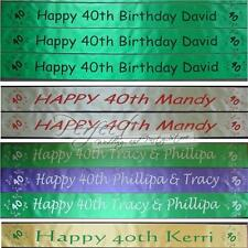 Personalised 40th Birthday Polyester Ribbon Party Banner 1 Metre Long
