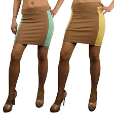 Ladies Sexy High Waisted Bodycon Mini Tube Skirt Short Stretch Womens Block
