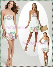 NWT $188 Lilly Pulitzer Lottie Resort White Mariposa Placed Strapless Dress