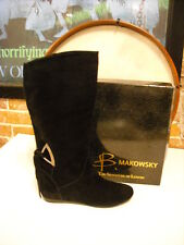 B Makowsky Ripley Black Suede Slouchy Back Tie Boots NEW