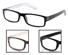 Clear Lens Glasses Stripes Temple Style 3 Colors to Choose From Black Red Brown