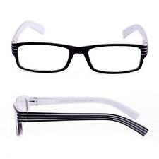 Black & White Clear Lens Glasses Stripes Temple Style Non Prescription Lens