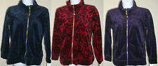 NWT Genuine STYLE & CO SPORT red/blue/purple velour zip jacket, size PM,PL,PP