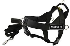 DT UNIVERSAL Working Harness & Padded Puppy Leash w/ Velcro Patch: RESCUE K9