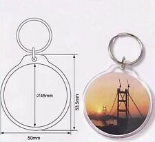 Wholesale Blank Clear Acrylic Keyring Dia 45mm Photo Insert Craft Keychain 96506