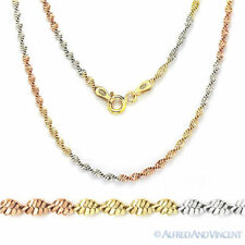Sterling Silver 14k Yellow Rose Gold 2mm Twist-Rope Magic Chain Necklace Italy