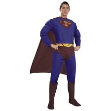 Dlx Muscle Chest Superman Costume for Adults Superhero Halloween Fancy Dress