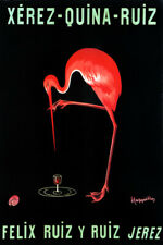 XEREZ QUINA RUIZ RED FLAMINGO BIRD DRINK ALCOHOL CAPPIELLO VINTAGE POSTER REPO