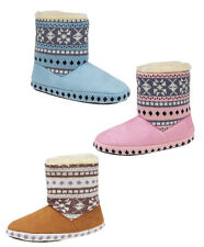New Womens Girls Nordic Faux Fur Warm Lining Warm Cosy Bootie Slippers Size 3-8