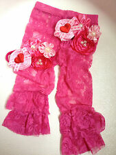 Valentine's Girl Stretch Lace Bloomers pants satin headband brooch set