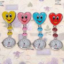 Colors Heart Shape Cute Smile Face Nurse Quartz Pocket Watch Pin Brooch Portable