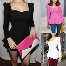 Sexy Sweetheart Puff Long sleeves Fitted Peplum Blouse Tunic Tops shirts D542