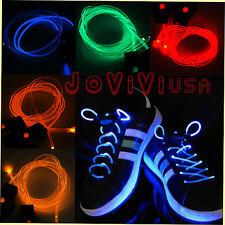 Pair Muti-color Cool LED Flash Lighting Glow Shoe Laces DISCO Wave Ray Party