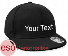 Personalised Rapper Cap Custom Text Name Slogan Flat Peak Hat Embroidered
