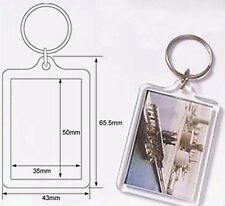 Wholesale Blank Clear Acrylic Keyring 35x50mm Photo Insert Craft Keychain 92033
