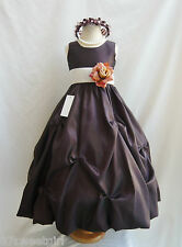 BROWN CHAMPAGNE TAN PAGEANT FLOWER GIRL DRESS SIZE  2T/2 3 4 5 6X 6 7 8 10 12 14