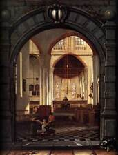 Photo Print Interior of the Oude Kerk, Delft, Seen through a Stone Archway Elsev