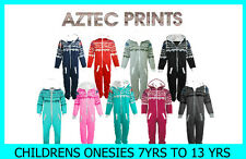CHILDRENS GIRLS BOYS KIDS AZTEC ONESIE ONE PIECE HOODED JUMPSUIT AGES 7-13 YEARS