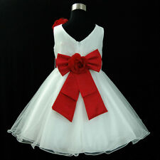 R668 Red White Wedding Bridesmaid Flower Girls Party Dress 1-2-3-4-5-6-7-8-10-12