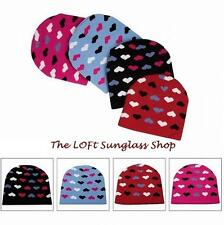 Cuffless Cute Heart girls Ski Snowboard Warm Winter Hat Beanie