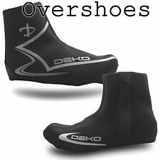 Deko Black Neoprene Cycling Overshoes for Road and Mountain Bike, Zip or Velcro