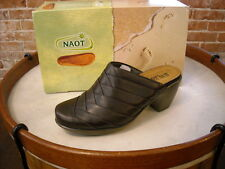 NAOT Beyond Brown French Roast Leather Mule Clogs New