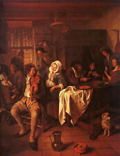 Art Print - Inn With Violinist And Card Players - Steen Jan 1626 1679