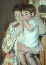Art Print - Mother And Child Against Green Maternity - Mary Cassatt 1844 1926