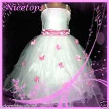 P408 NWT Girl Pink White Fairytale Party Flower Girls Dress SZ 1,2,4,6,8,10,12Y