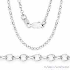 925 Sterling Silver w/ Rhodium 2.1mm Open Rolo Cable Link Chain Italian Necklace