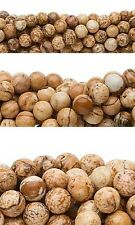Wholesale Lot of 10, 16 inch Strands Round Picture Jasper Natural Gemstone Beads