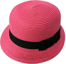 Women's Flower Accent Cloche Bucket Bell Summer Hat Straw Cap Bowl Hat