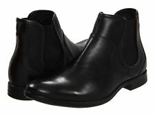 Guess Mens Deforest Black Leather Casual Pull-On Fashion Ankle Boots