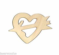 Heart & Arrow Unfinished Flat Wood Shapes Cut Outs HA8070 Variety Sizes crafts