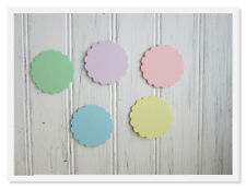 100 Mini Scalloped  Tags,Pastel,Green,Lavender,Blue,Yellow,Pink 1.5 inch circles