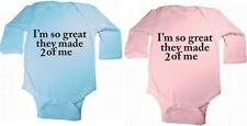 I'M SO GREAT THEY MADE 2 OF ME SET OF 2 BABY BODYSUITS TWINS UNISEX BOY OR GIRL