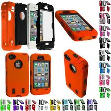 Color Hybrid Tuff Rugged Hard/Soft Case Cover+Protector for iPhone 4 4S