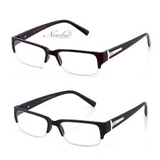 2 Pair Half Frame Clear Lens Glasses Black or Brown Sophisticated Style 4 Colors