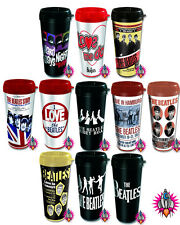 NEW OFFICIAL THE BEATLES PLASTIC TRAVEL MUG BOX GIFT INSULATED 11 VARIATIONS