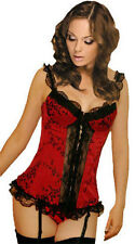 SEXY LINGERIE MOULIN ROUGE OVERBUST RED BONED Black LACE CORSET TOP BASQUE NEW