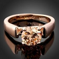 HOT 18k Rose Gold Plated  Citrine Crystals Fashion Cocktail Finger Ring