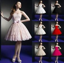 Short Strapless Lace Prom Gown Bridesmaid Bridal Wedding Dress Stock Size 6-16