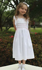 New Beautiful white girls hand smocked pinafore dress 17077
